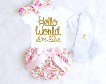 Baby Girl Coming Home Outfit, Newborn Girl Coming Home Outfit, Baby Clothes, HELLO WORLD Personalized Newborn Outfit Baby Girl Clothes fall