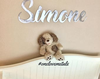 nursery, cursive custom name, nursery name, custom name metal sign, personalized name sign, baby shower gift, wedding sign, personalized
