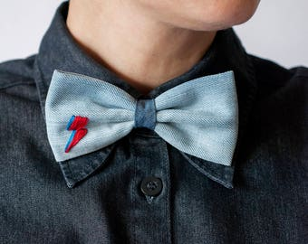 David Bowie Lighting Bolt Bow Tie, Mens Bowties, Wedding bow tie, bow tie for men, Headband, mens tie, Denim bow ties