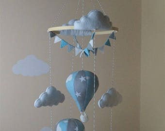 Handmade hot air balloon baby mobile bunting Blue clouds grey stars Made to order