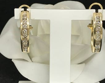 "14K Yellow Gold Diamond ""J"" Hoop Earrings 1.00ctw Close-Out #977"