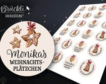 24 labels / stickers / labels for your Christmas baking, baking / Christmas cookies