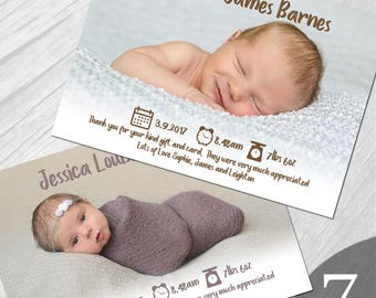Personalised New Baby Photo Thank You Cards Boy Girl Birth Announcement Printed on 350gsm card NB7