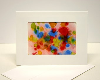 Hand painted card abstract art. blank greeting card with envelope, art collectable hand made card green red orange blue yellow