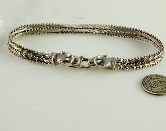 "Sterling Bracelet with Leopard Closure 8"""