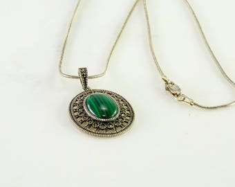 """Green Stone Marcasite Sterling Pendant on a 20"""" Sterling Snake Chain"""