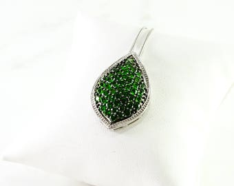 "Electric Green Pendant  on a 23"" Chain All Sterling"