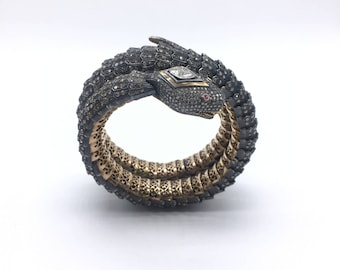 Handmade Victorian Style Openable Snake Design Bangle set in 14kt Gold and .925 Sterling Silver  Polki and Pave Diamonds with Ruby Stone