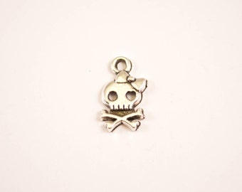 10pcs - Skull and Crossbones with Bow Charms - 9mm x 16mm - bulk - wholesale - diy - bracelet charms - D16