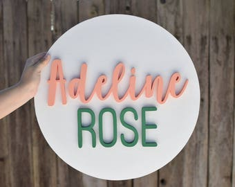 """Nursery Name Sign//18"""" Round Wood Name Sign with Painted Background//Wood Name Cut Out//Baby Name Sign//Custom Name Sign"""