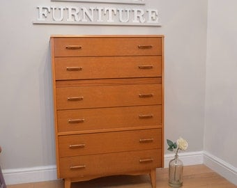 Stunning Lebus 1960's Oak Chest of Drawers / TallBoy