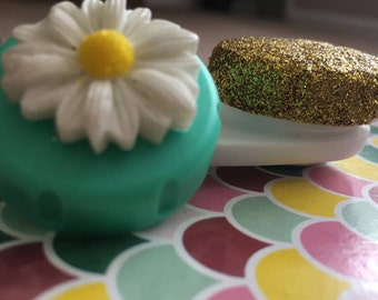Cute Contact Lens Case Flowers and Glitter