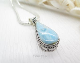 Tear Drop Larimar Sterling Silver Pendant and Chain