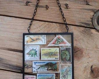 Framed dinosaur stamp wall art - dino gift - stamped art