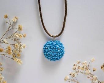 Handmade Polymer Clay Hydrangea Flower Necklace Pendant