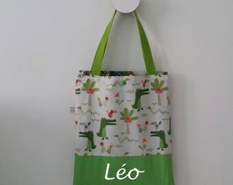 Kids library bag personalized name tote bag Green, white, alligator, snake.