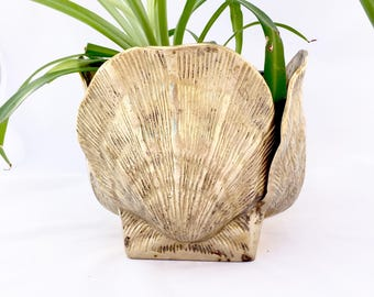 Vintage Brass Seashell Planter, Brass Sea Shell Decor, Vintage Brass Planter, Vintage Brass Decor, Vintage Shell Planter,Brass Shell Planter