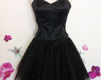 Bustier and black with silver glitter tutu dress