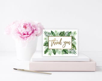 """Thank You Folded Card Template Tropical  Thank You Card Printable, Hand Lettered, Calligraphy   Wedding  5.5x4.25""""   No. EDN 1051"""