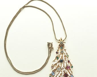 Vintage Christmas Tree Necklace with Crystals