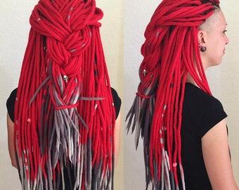 Set of wool double ended dreads DE dreadlocks red gray long