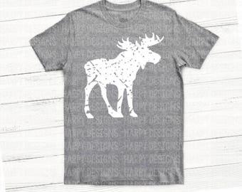 Moose SVG, Grunge Moose SVG, Grunge Svg, Christmas SVG, Cricut Files, Silhouette Files