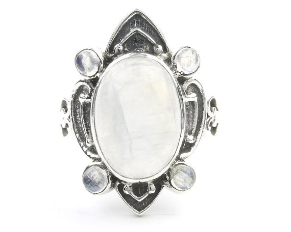 Winter Warrior Ring, Large Sterling Silver Moonstone Ring, Statement Piece, Stone Jewelry, Gemstone, Crystal, Boho, Gypsy