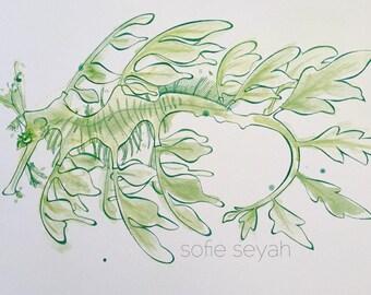 Green Leafy Seadragon - Sofie Seyah Ink and Watercolour Nautical Illustration - Nursery Art - Art Print