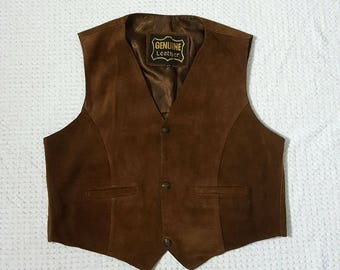 Genuine Leather Suede Western Vest Size XXL