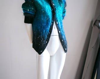 Mohair Wool Cardigan   Blue Mohair Cardigan   Blue Mohair   Mohair Sweater   Mohair Cardigan   Fuzzy Blue Sweater   Blue Cardigan  