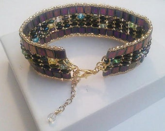 Metallic iris tila bracelet with super duo beads and golden accents