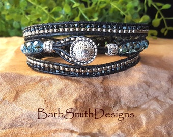"ON SALE!  Black Wrap Bracelet-Beaded Leather 3 Wrap-Blue Crystal Beads-Black and Silver-Size 7""-The 3-Wrap Skinny One in Black Waters"