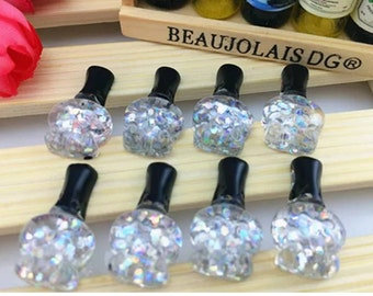 Clear White Glitter Nail Polish Flatbacks 10pcs   X59