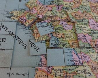 Puzzle FRANCE & its departments - vintage Puzzle - geographical Puzzle