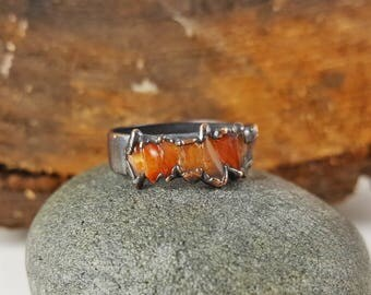 Citrine and Copper Ring - Size 9 - Copper Electroformed Ring, Copper Plated - Gemstone Ring - Gypsy Boho - Fantasy Jewelry and Accessories
