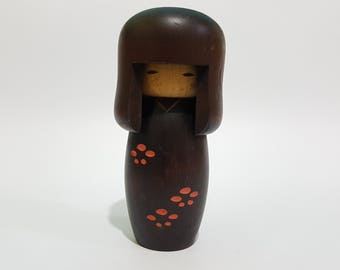 Vintage Dark Brown Japanese Wooden Kokeshi Doll with Red Floral Dots Engraved, CecysAsianShop