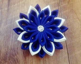 Kazashi style hairclip. Darkblue and cream color hair accessory, hair pin,hair clip, weddings,girls,for any occasion, hair jewerly