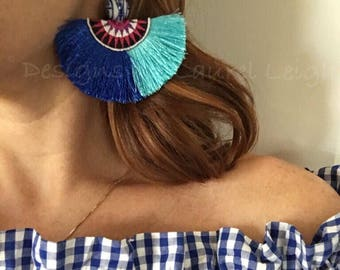 SALE | ROYAL Blue and TURQUOISE Statement Earrings | fringe, multicolored, boho, dangle, drop, lightweight, multicolor, blue and white, chin