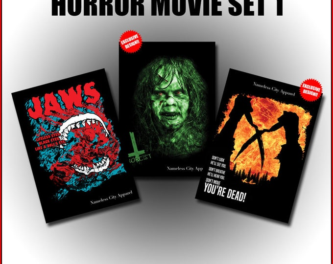 Featured listing image: Horror Movie Postcards - the exorcist postcard, The Burning postcard, Jaws postcard, collectible cards, film art, nameless city apparel