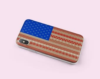 American Flag iPhone 7 Case - iPhone 8 Case - Independence Day Gift - iPhone X Case- Tech Birthday Gifts For Her - Phone Cases - KT015