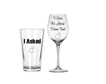 Wedding Wine and Pint Glass Set of 2, Engagement Glasses, Bridal Glasses, Engagement Gift Idea, Wedding Shower Gift, Newly Engaged Gift