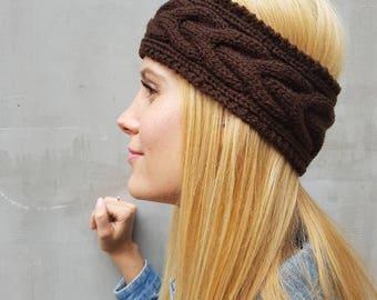 Crochet headband, snow cable knit winter headband, brown cable wool headband, cute wool knit thick ear warmer, warm cute knitted headband
