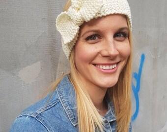 White wool bow headband, cute wool knit thick white ear warmer, warm cute ear headband, snow bow knit winter headband, crochet headband