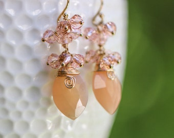 Peach Moonstone Earring, Peach Earring, Small Gemstone Earring, Small Cluster Earring, Salmon Earring, Gold Filled Small Earring