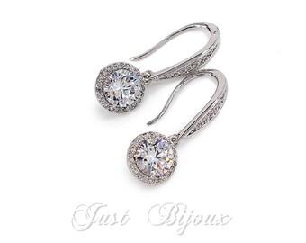 Wedding Earrings Rose Gold or Platinum Zirconia Earrings Wedding Jewelry Wedding Earrings Bridesmaid Gift Bridal Jewelry Bridesmaid Earrings