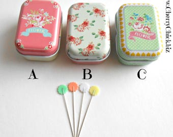 Flower Sewing Pins - Pins in Tins - Decorative Sewing Pins - Quilting Pins - Floral Tins with Pins - Pastel flower Pins - Gift for Quilters