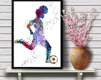 Colorful Soccer Player Girl, Sport, Watercolor Room Decor, Home Decoration, Printable Wall Art, gift, Instant Download (07)