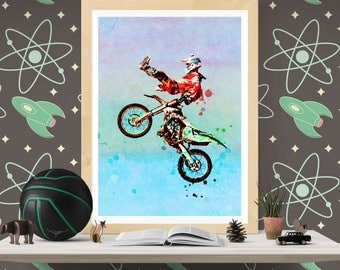 Dirt Bike Poster, Motocross Art, Dirt Bike Print, Motorcycle Gifts, Motocross Print, Motorbike Art, Supercross, Biker Art  (N326)
