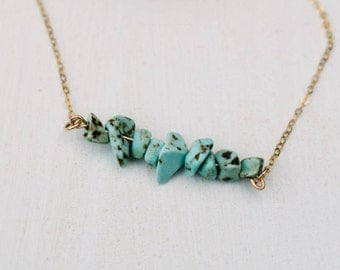 Turquoise Necklace, gold Necklace, Dainty necklace, Gemstone Bar Necklace, Turquoise beads, Delicate Necklace, gold filled Turquoise pendant