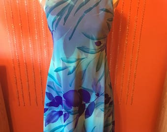 Vintage 90's watercolor dress/Jessica Howard dress/short flowy 90's dress/blue and purple dress/silky blue floral tank top dress
